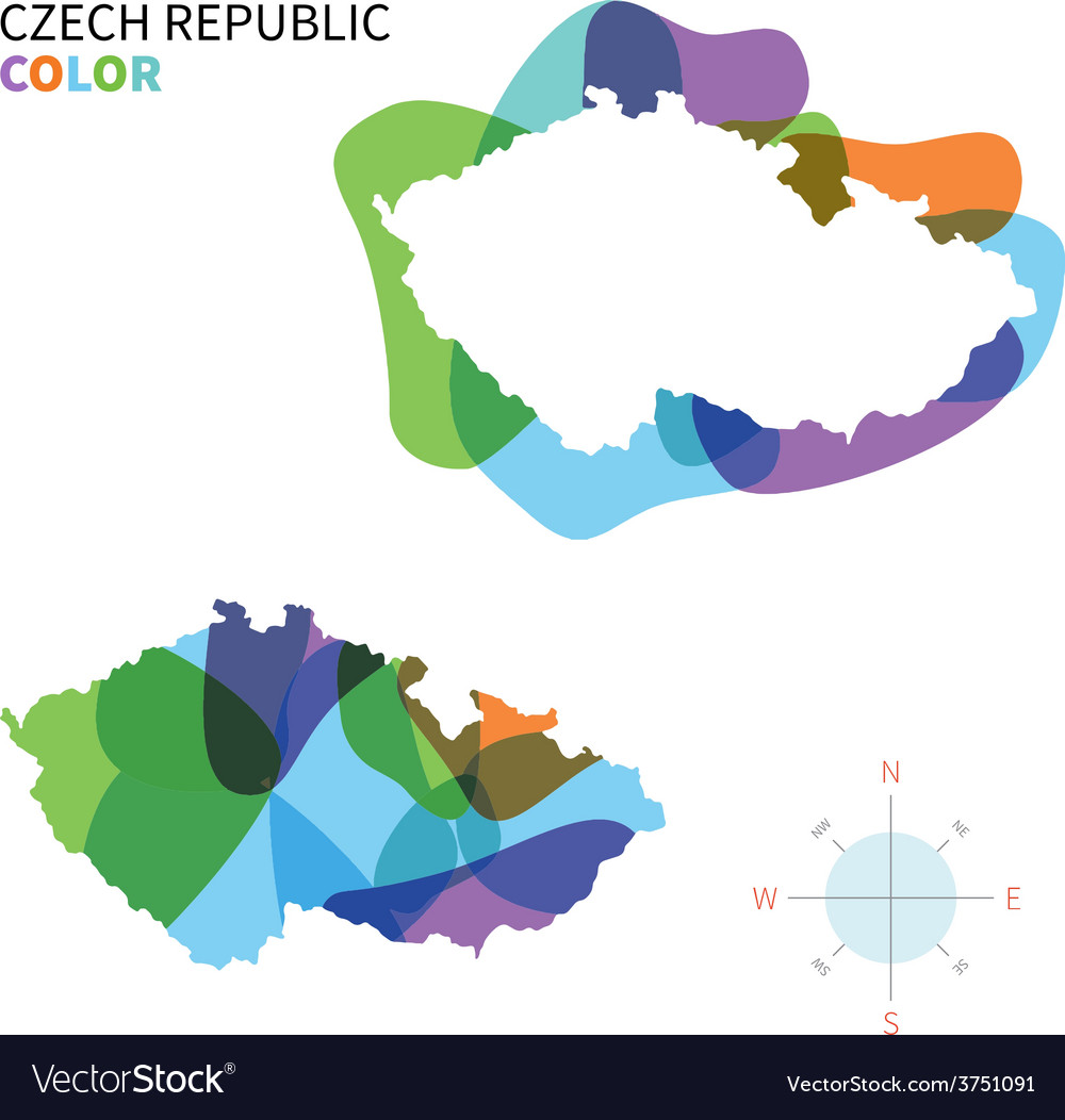 Abstract color map of czech republic vector