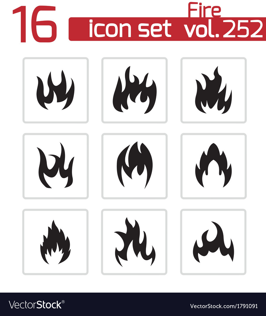 Black fire icons set vector
