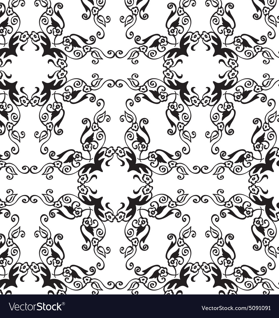 Blackwhite floral seamless ornament vector