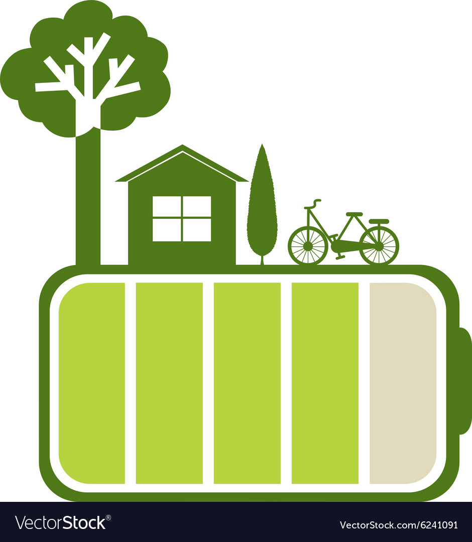 Green battery and nature vector