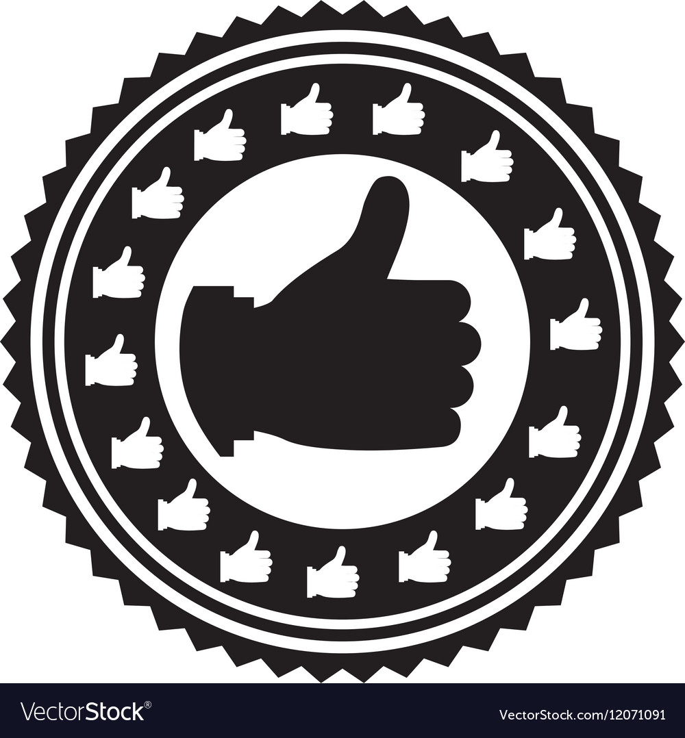 Hand monochrome with gesture ok stamp vector