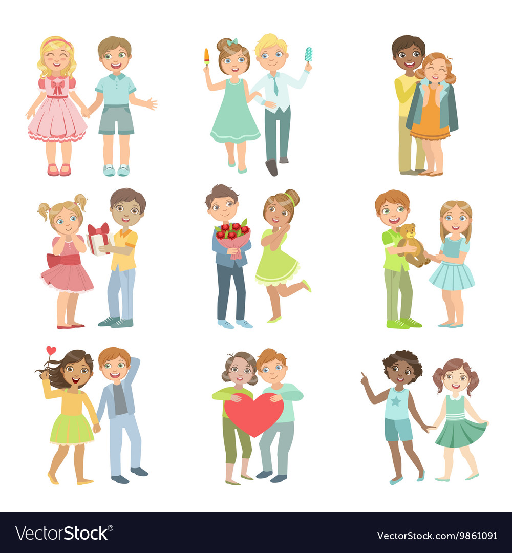 Teenager couples in love vector