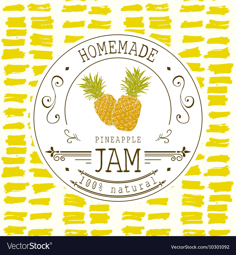 Jam label design template for pineapple dessert vector