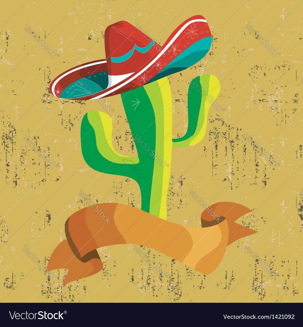 Mexican food cactus with banner vector