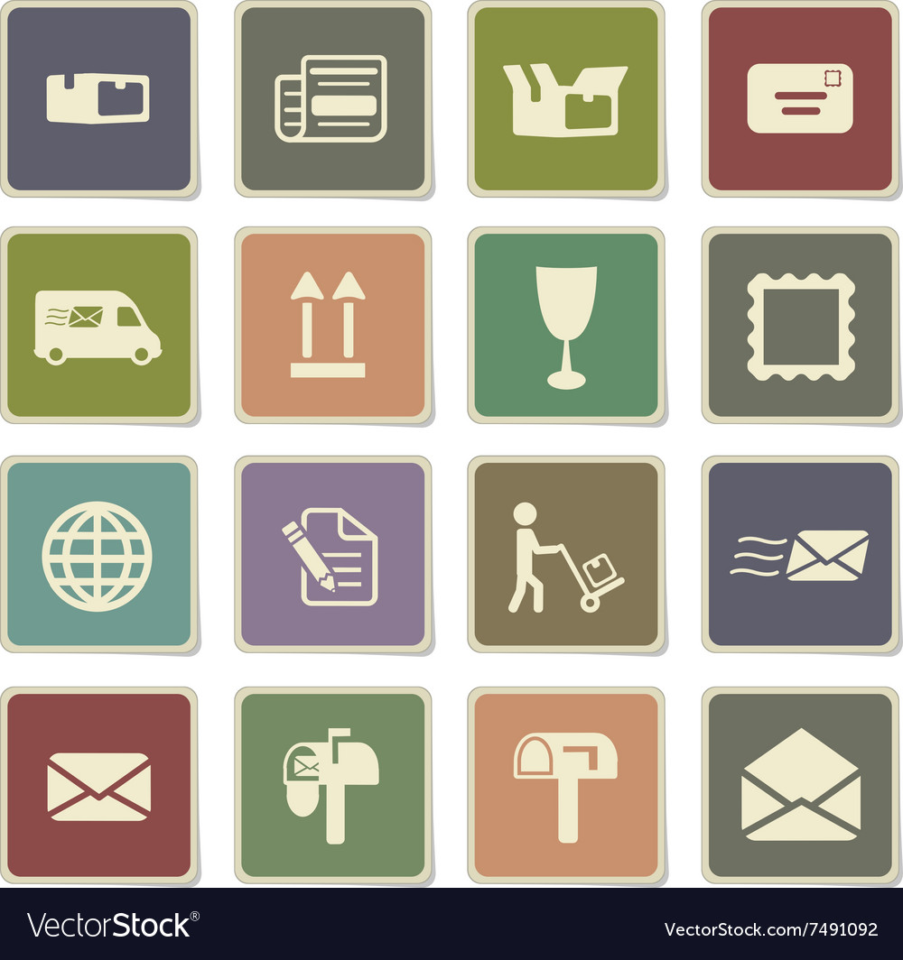 Post service simply icons vector