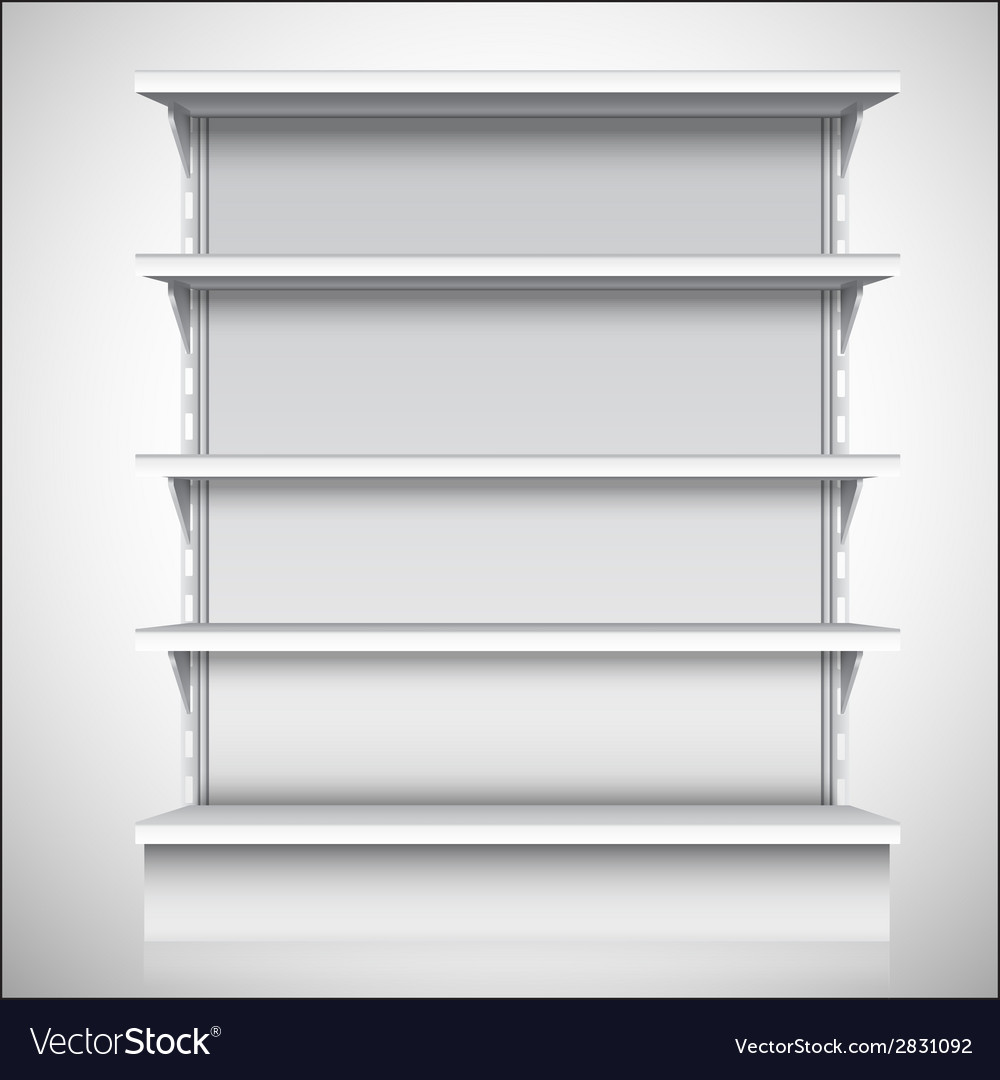 White supermarket shelves vector