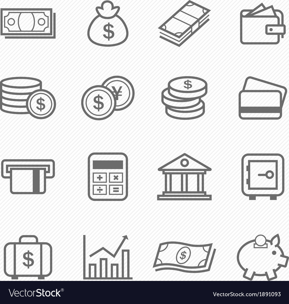 Finance and money outline stroke symbol icons vector