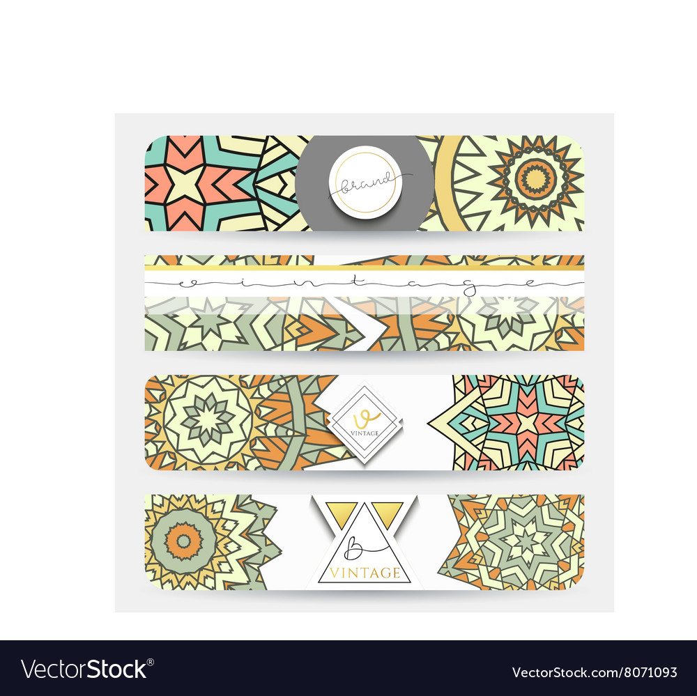 Mandala banner with a pattern handmade in retro vector
