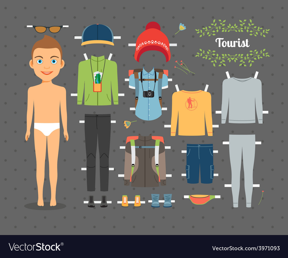Tourist boy paper doll with clothes and shoes vector