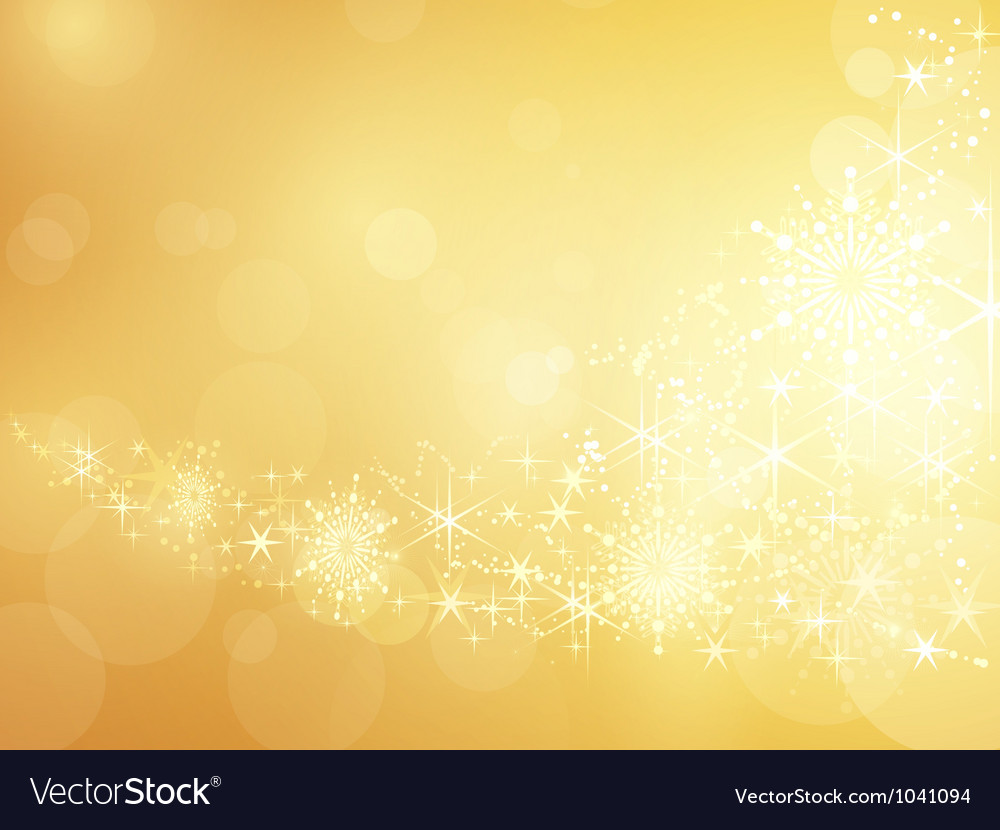 Golden sparkling star and snowflake border vector