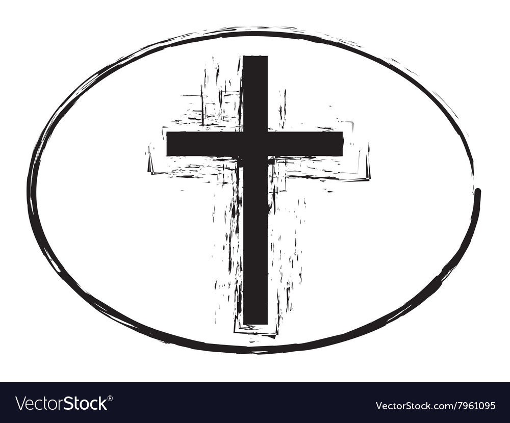 Black grunge easter cross stamp symbol vector