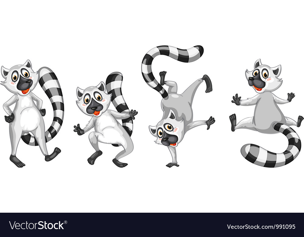 Cartoon lemurs set vector