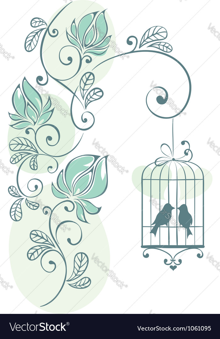 Floral background  love birds vector