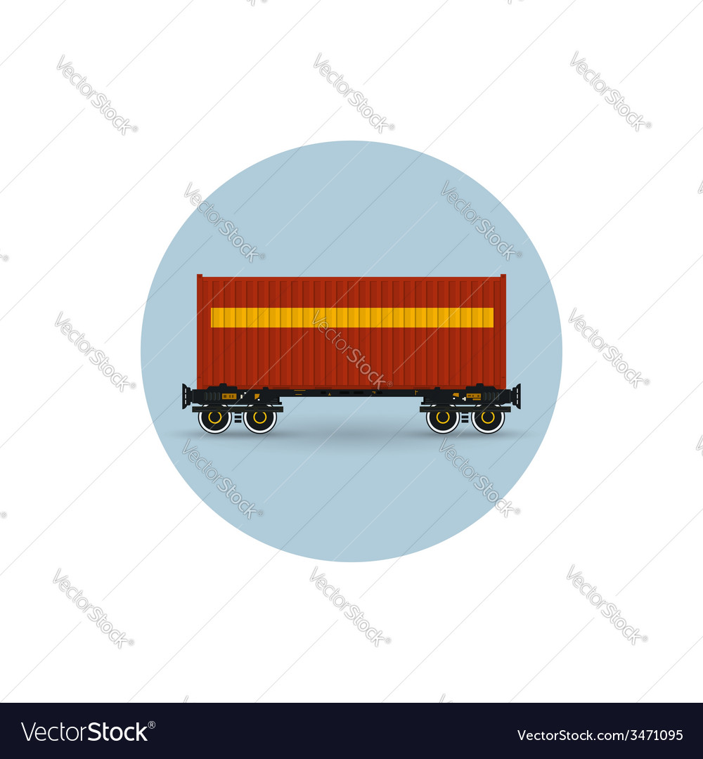 Icon colored the container on a railway container vector