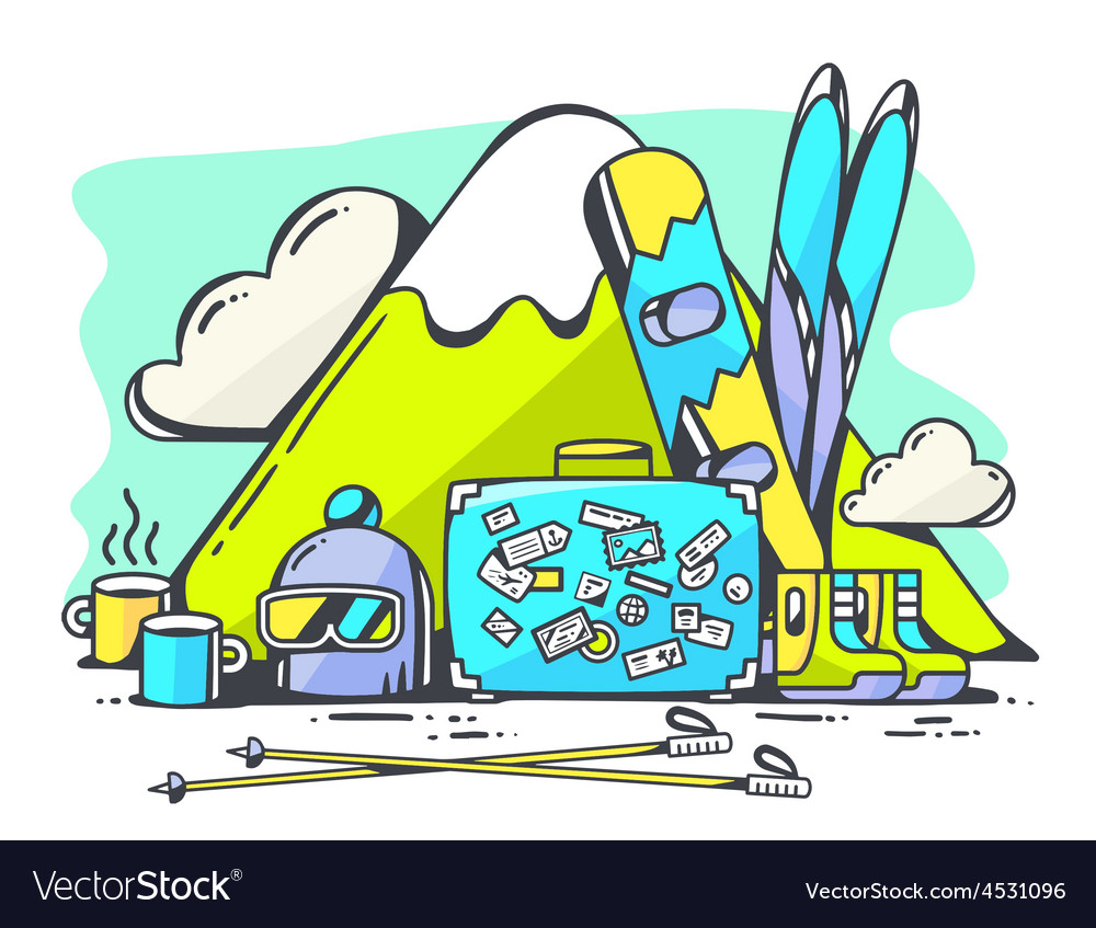 Blue suitcase and winter travel accessori vector