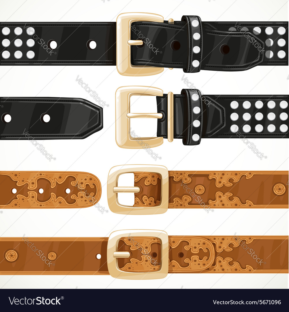 Leather belts with rivets and embroidery buttoned vector