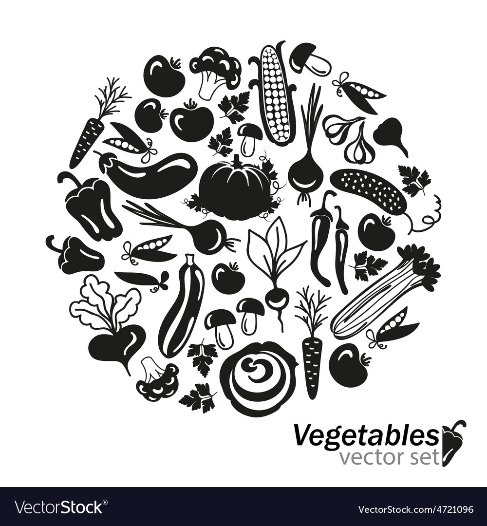 Vegetables black icons on white background vector