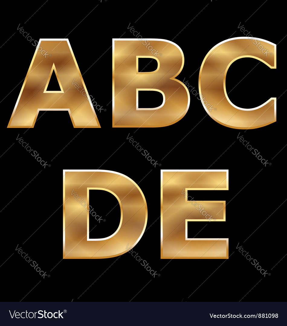 Gold letters set ae vector