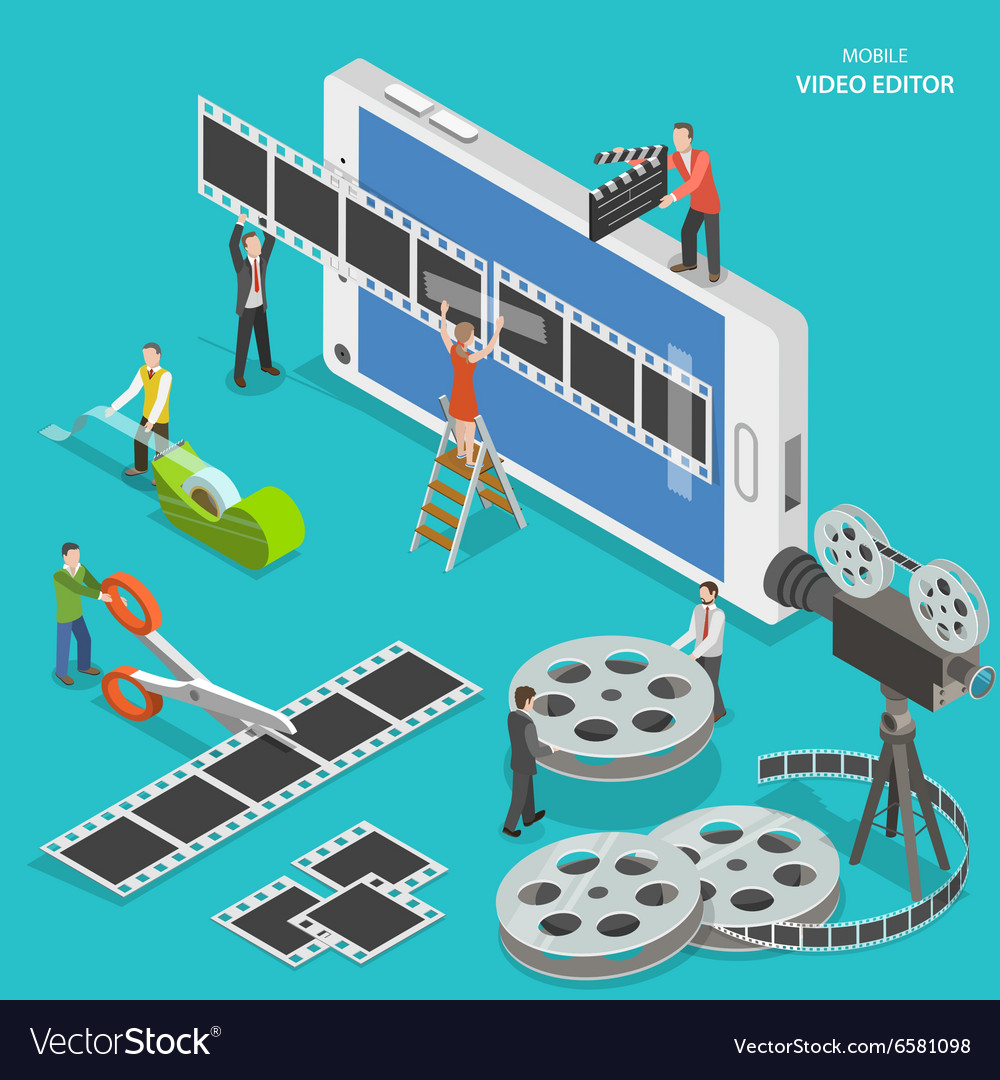 Mobile video editor flat isometric concept vector