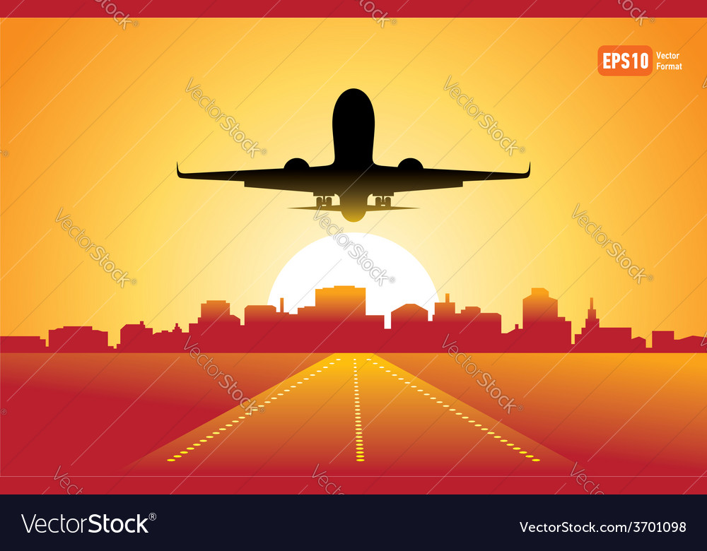 Passenger airplane fly up over takeoff runway vector