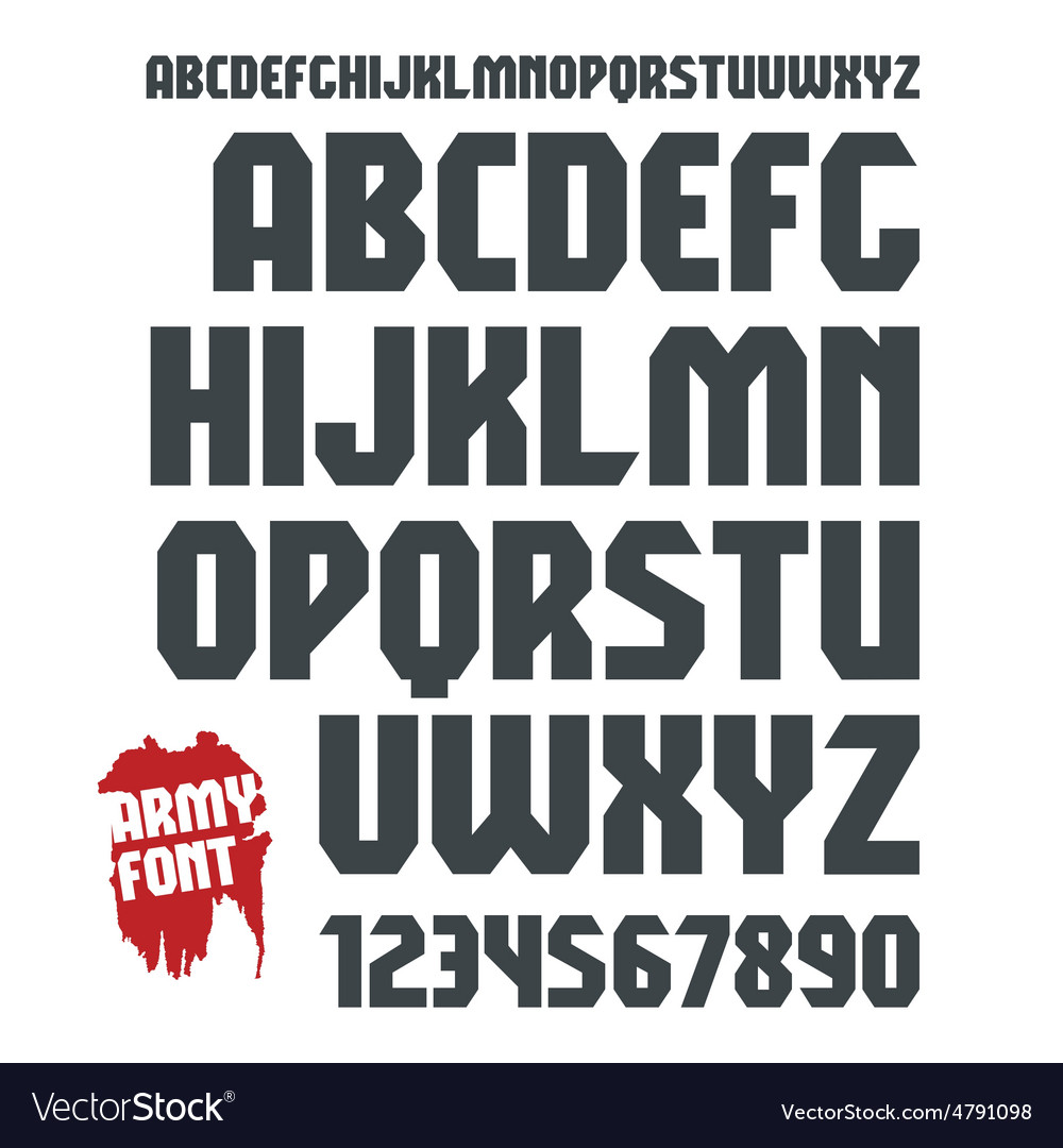 Sans serif geometric military font and numeral vector