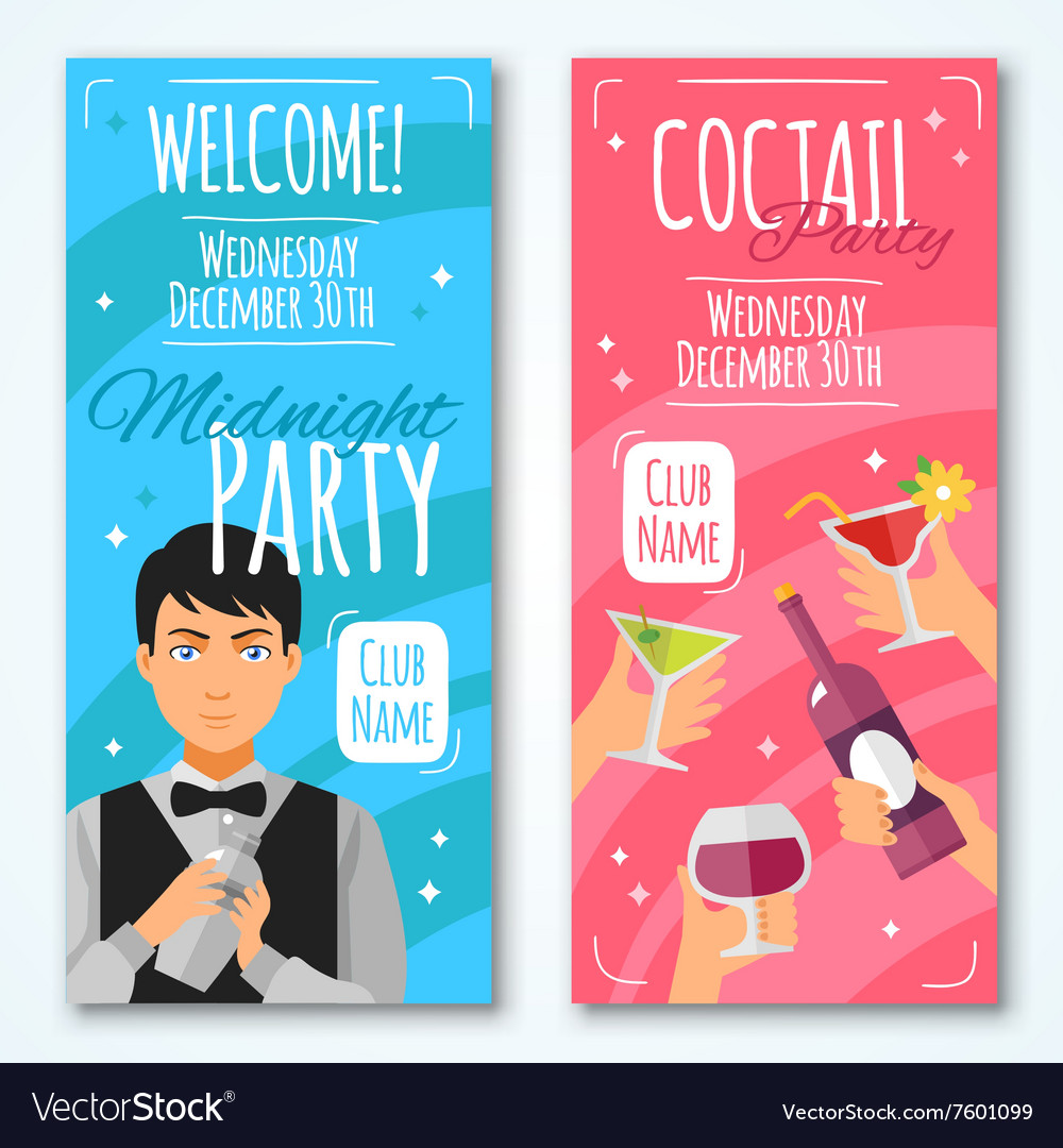 Cocktail invitations design set vector
