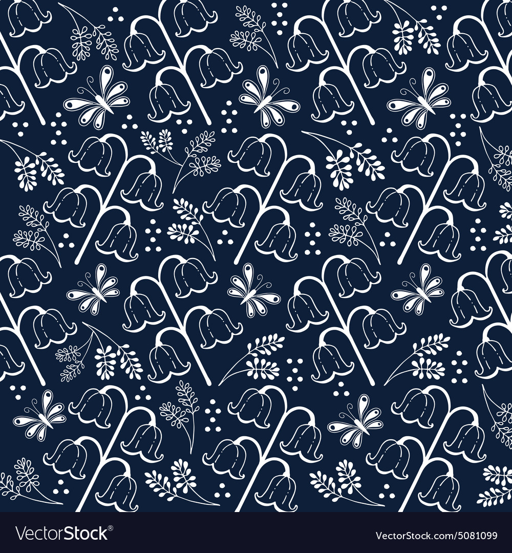 Flower pattern set 2 white and navy blue vector