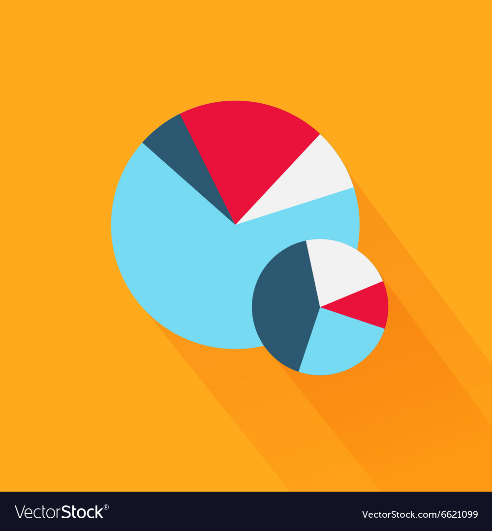 Pie chart flat sign design concept vector