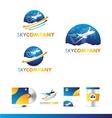 Air plane earth travel logo icon design vector image