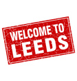 Leeds red square grunge welcome to stamp vector image