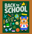 back to school background with cat vector image