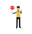 cartoon traffic control policeman showing stop vector image
