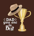 greeting card best dad in the world with trophy vector image
