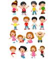 happy kid cartoon collection vector image