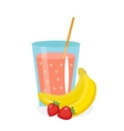Banana-strawberry juice in a glass Fresh and vector image