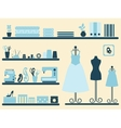 Sewing room interior and objects set vector image vector image