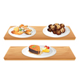 Two wooden shelves with foods vector image vector image