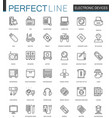 electronic device thin line web icons set gadgets vector image