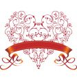 valentine heart with ribbon vector image