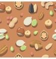 seamless pattern nuts hazelnut almonds vector image