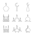 Line arabic dome of mosque set vector image