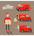 Delivery Concept Fast delivery van Delivery man vector image