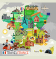 France landmarks and travel map france travel vector image