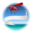 Retro Biplane with banner vector image
