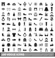 100 vogue icons set simple style vector image