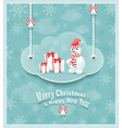 Cloud with snowman gift bells 380 vector image