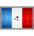 Bright soccer background with ball French colors vector image vector image