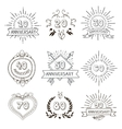 Anniversary birthdays festive emblems icons set vector image