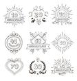 Anniversary birthdays festive emblems icons set vector image