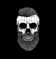 bearded skull on dark background design element vector image